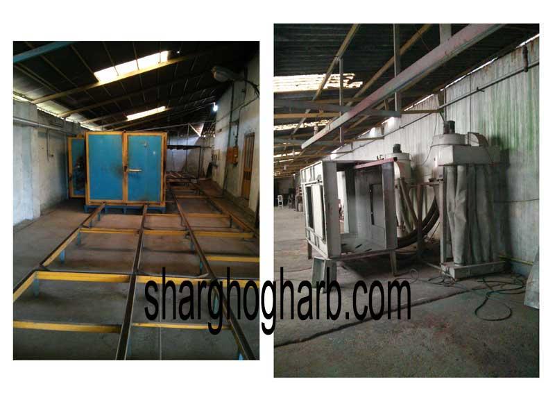 خط رنگ استاتیک – شامل کوره پخت 6 متری دو در – دارای 2 آتشخانه – اطاقک پاشش رنگ - دو دستگاه سایکلون - تپانچه پاشش